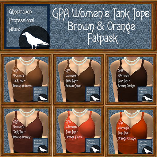 GPA Womens Tank Tops Fatpack - Brown and Orange 512
