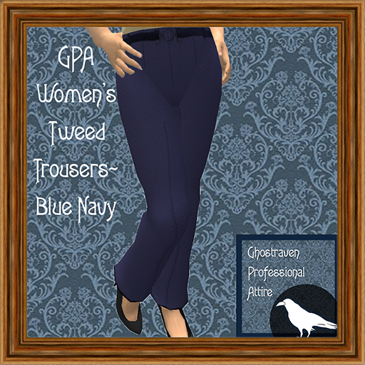 GPA Women's Trousers Tweed Blue Navy Ad 512