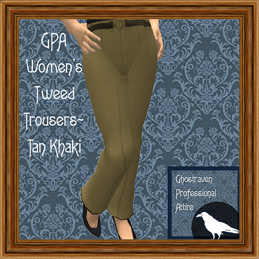GPA Women's Trousers Tweed Tan Khaki Ad 512