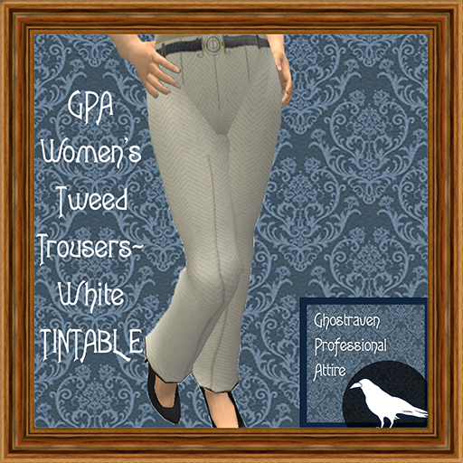 GPA Women's Trousers Tweed White TINTABLE Ad 512