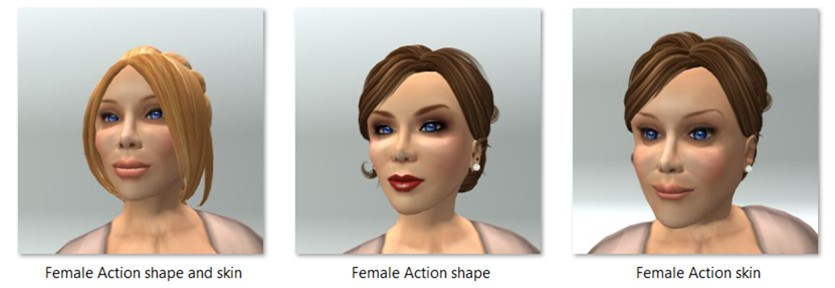 Female Action Shape and Skin